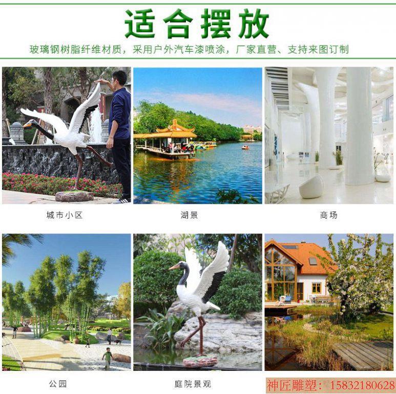 玻璃钢仿真仙鹤雕塑摆件,花园仙鹤雕塑 (3)